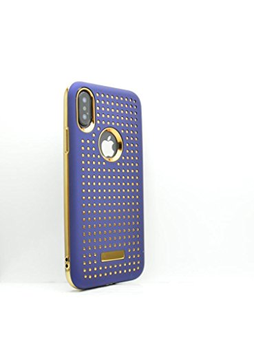 Gold Trim Matt (OLIVIASPHONES iPhone X-matt Navy Blue Gold Farbige Trim und Symetrical gepunktetem Gold Design Slim Fit gehärtetes Gummi Back Case Cover Displayschutzfolie-Zubehör für Handys)