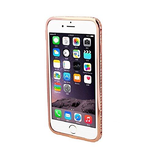 Ukamshop für iPhone 6 6G Luxus Kristall stern Diamant Rahmen Metall stoßdämpfer Taschen case cover Roségold
