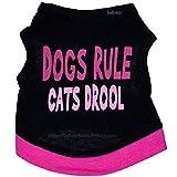 Aeici Hundebekleidung Baumwolle Schwarzes Gedrucktes Rosa Buchstabenweste-Frühlings-Sommer-Kleid M