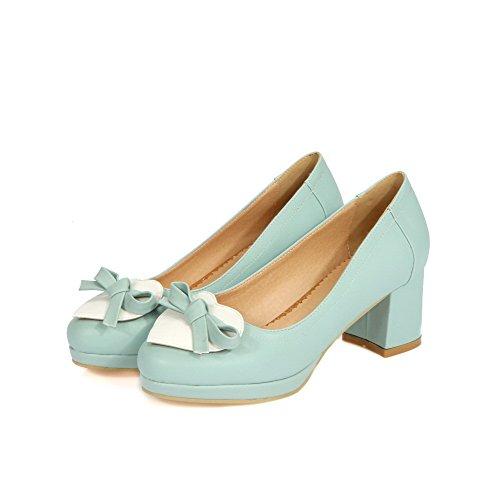 AgooLar Femme Pu Cuir à Talon Correct Rond Couleurs Mélangées Tire Chaussures Légeres Bleu