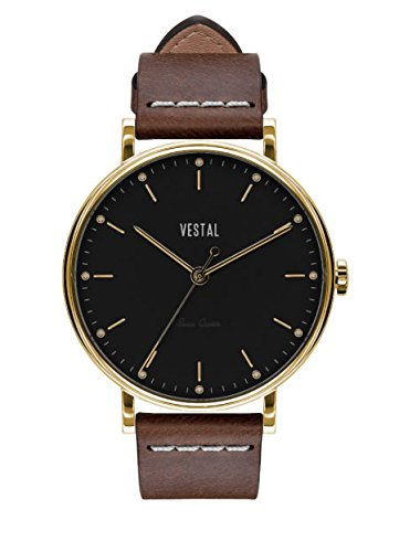 Vestal 'Sophisticate' Swiss Quartz Stainless Steel and Leather Dress Watch, Color:Brown (Model: SP42L05.LBWH)