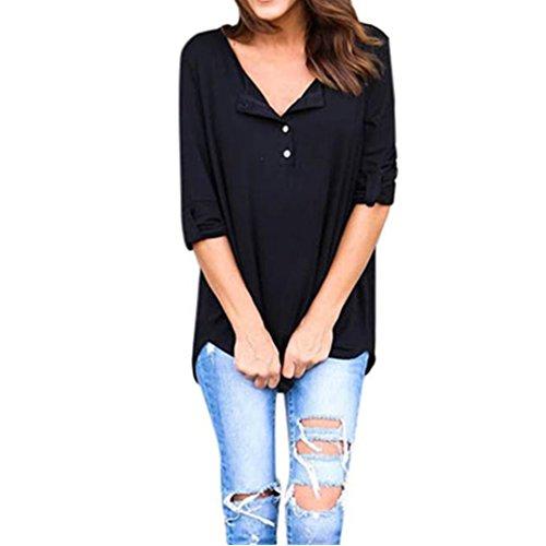 Longra Damen Langarm Bluse Hemd Shirt Oversize Sweatshirt Oberteil Tops Damen V-Ausschnitt Knopf Langarmshirts (Black, S) (Belted Blazer Jacke)
