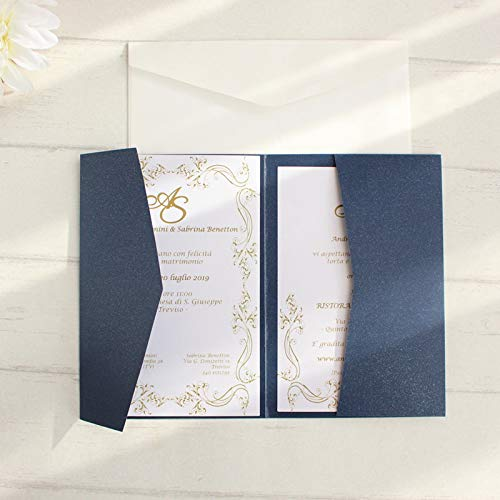 ZheQR Blank envelopes Cards Invitations Navy Blue Pocket tri-Folded Invitation Set Multi Colors Offer Customized Service,White,just Pocket (Pocket Einladungen White)
