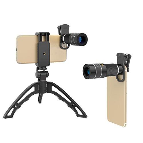 Apexel Universal 20X Clip-On Telephoto Telescope Camera Teléfono móvil Zoom lens + Portable Mini Handgrip Tripod Selfie Stick para iPhone X / 8 7 Plus / 6S Samsung Galaxy S9 S8 S7 Huawei y la mayoría de los teléfonos inteligentes Android