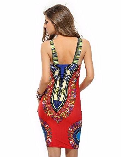 QIYUN.Z Vintage Femmes Licol Collerette De Poitrine Imprimes Moulante Robe De Soiree De Clubwear Mince Rouge