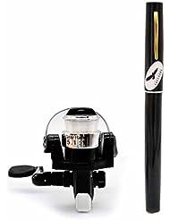 Mini Fishing Rod Pen Portable Telescopic Aluminum Alloy Fishing Pole Travel Fishing Rod Pocket Sea Rods ISO Fishing Rods + 2000 Spinning Fishing Reel Black