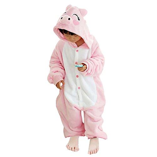 JT-Amigo Kinder Pyjama Strampler Schlafanzug Tier Kostüm für Halloween Karneval Fasching, Schweinchen Kostüm, Gr. 140/146