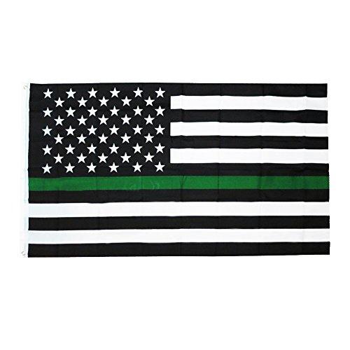 Zeit Roaming 3x 5ft dünn Green Line USA Polyester Flagge mit Messing Tüllen