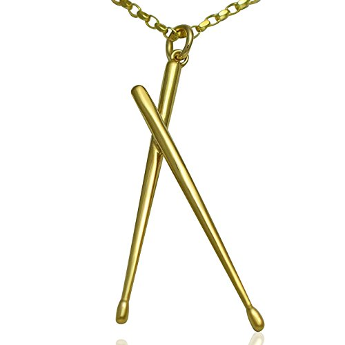 """aus massivem 9ct Gold Drum Sticks Anhänger und Halskette Geschenk-Set für Schlagzeuger, Musiker und Musikliebhaber.-Kette Optionen unter """"FARBE Name"""" With 18 inch Solid Gold Necklace"""