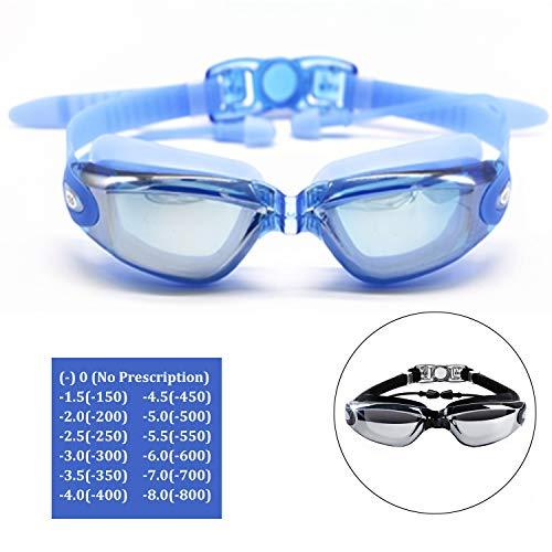 Hersvin Schwimmbrille (0 bis -800), kurzsichtig, UV400, Anti-Beschlag-Brille mit integrierten Ohrstöpseln, abnehmbare Nasenbrücke für Erwachsene, Männer, Frauen, Kinder, blau, (-4.0, -400)