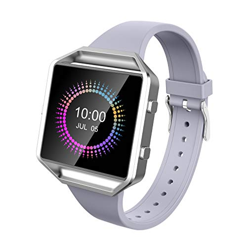 Wearlizer für Fitbit Blaze Armbänder, Silikon Slim TPU Ersatzband Zubehör Armband für Fitbit Blaze Sportuhr Damen Herren - Small/Large (Lavendel)