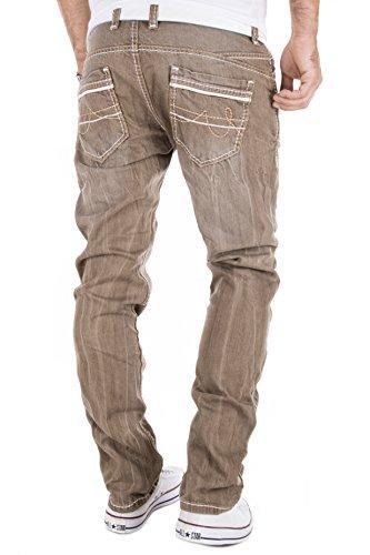 AMICA by MERISH Jeans Homme décoratives coutures Jeans/Pantalons, Jeans StraightFit coup d'oeil détruit diverses couleurs brown