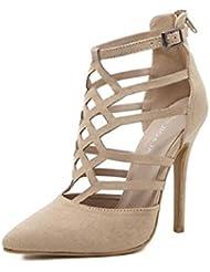 NobS Moda Señoras Womenpopular Pointed Suede Hueco Tacones Altas Sandalias Impermeables Zapatos Casual Femenino , apricot , 38