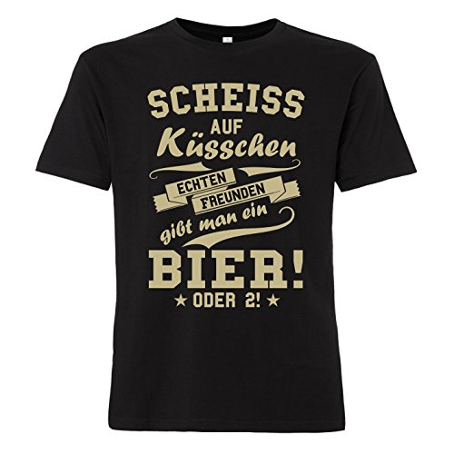 ShirtWorld - Echten Freunden gibt man ein Bier - T-Shirt Schwarz