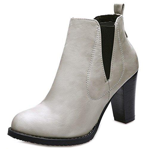 Alto Taoffen Sm Grigio Caviglia Donne Chelsea Indossando Stivali Stivali Tacco 8H81rX