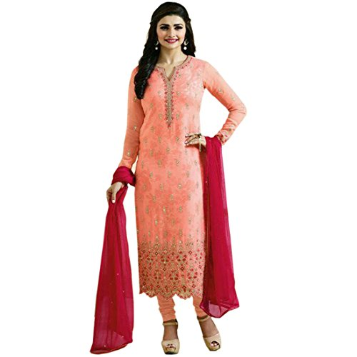 Prachi Desai Women's Orange Color Georgette Embroidery & Stone Work Semi Stitched...
