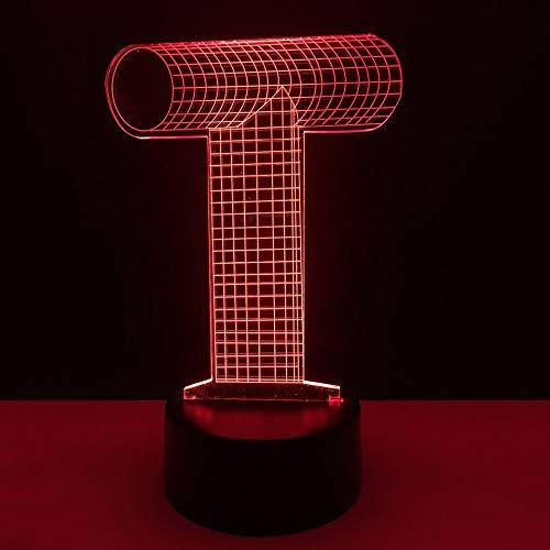 3D Alphabet Buchstaben T Form Nachtlicht LED Vision Tischlampe USB Acryl Home Bedside Decor Kinder Spielzeug Geschenke Schlaf Leuchte