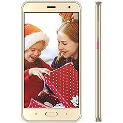 4G Smartphone Pas Cher Android 9.0 16Go de ROM Telephone Portable Debloqué 5.5 Pouces Dual SIM Dual Caméras 4800mAh GPS Téléphone Portable Pas Cher sans Forfait J5 Plus(Or)