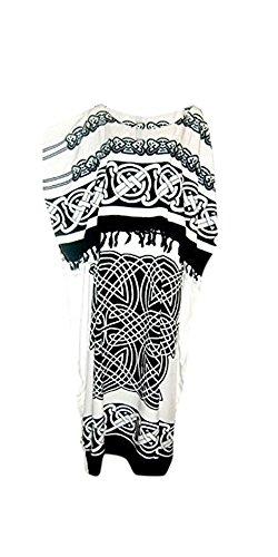 Cool Kaftans - Robe Celtique Femme Tunique Grande Taille Doux Neuf Blanc et Noir