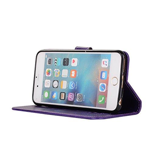 Apple iPhone 6 Plus/6S Plus 5.5 hülle,Voguecase 2 in 1 Combo Kunstleder Tasche PU + TPU Schutzhülle Tasche Brieftasche Hülle Handy Schutzhülle Case Cover Abnehmbare Handy Shell Geldbörse (Paar Vogel - Paar Vogel - lila
