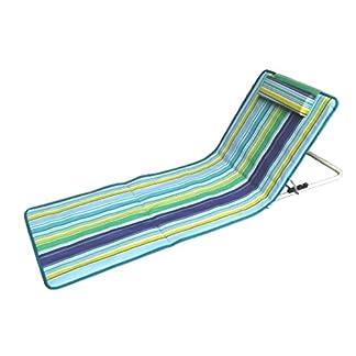 Hosa – Colchoneta de Playa con Respaldo Regulable y Cojín Reposacabezas – Tumbona Plegable para Piscina, con Almohada Acolchada y Bolsa de Transporte – Azul