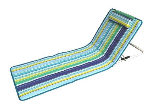 Hosa - Colchoneta de Playa con Respaldo Regulable y Cojín Reposacabezas - Tumbona Plegable Para Piscina, Con Almohada Acolchada y Bolsa de Transporte - Azul