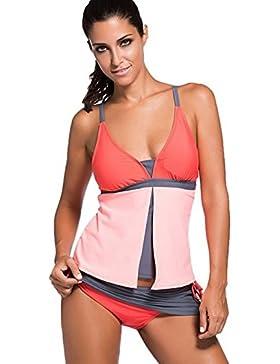 ASSKDAN Damen Summer Tankinis Mehrfarben Skort Bottom Set Zweiteilig Bademode Swimsuit - Hohe Qualit