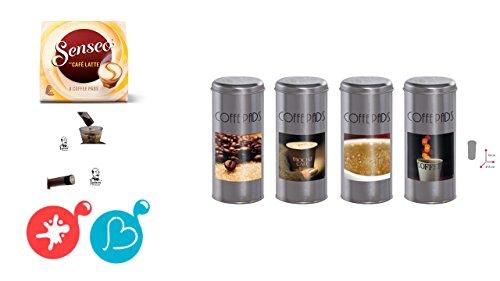 Senseo Geschenkset, 4-tlg., Café Latte Kakaostreuer 4er Set Kaffeemotive Paddosen & Schablone