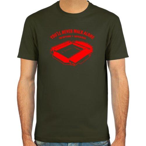 SpielRaum T-Shirt Anfield Road, Liverpool ::: Farbauswahl: schwarz, oliv oder navy ::: Größen: S-XXL ::: Fußball-Kult Schwarz
