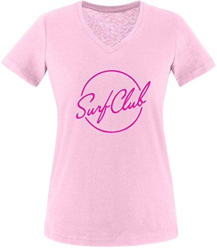 EZYshirt® Surfclub Damen V-Neck T-Shirt Rosa/Pink