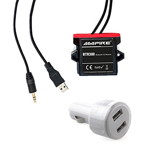 AMPIRE BTR300 universal Bluetooth-Adapter zum Musikstreaming mit Auto-Remote (wasserdicht, 3,5mm Klinke + USB) & Dual-Zigarettenadapter perfekt für Kfz/Auto/Home Hi-Fi/Boot/Marine