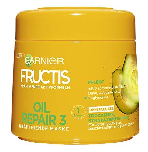 Garnier Fructis Oil Repair 3 Kräftigende Maske, für trockenes, strapaziertes Haar, mit 3 schwerelosen Ölen aus Olive, Avocado und Shea, 6er-Pack (6 x 300 ml) (Garnier Fructis Maske)