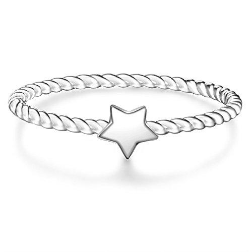 Glanzstücke München Damen-Ring Stern Sterling Silber - Motivring Freundschaftsring schlicht