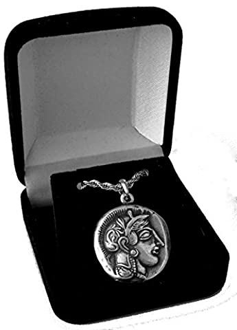 Athena & Owl Coin Pendant and Chain, Greek Gods &