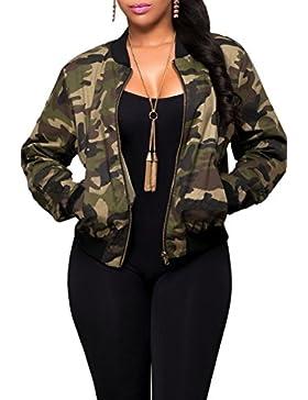 Las Mujeres Caen Casual Cremallera Estampado Camuflaje Camo Bomber Chaqueta Militar Del Ejército Outcoat