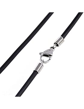DonDon Kautschuk Halskette mit Edelstahl Karabiner Verschluss Länge 50 cm - Dicke: 2 mm