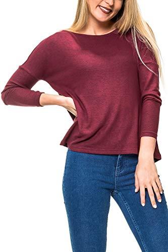 ONLY Damen Feinstrick Pullover Oversize Style Langarmshirt Shirt O-Neck (XL, Chocolate Truffle)