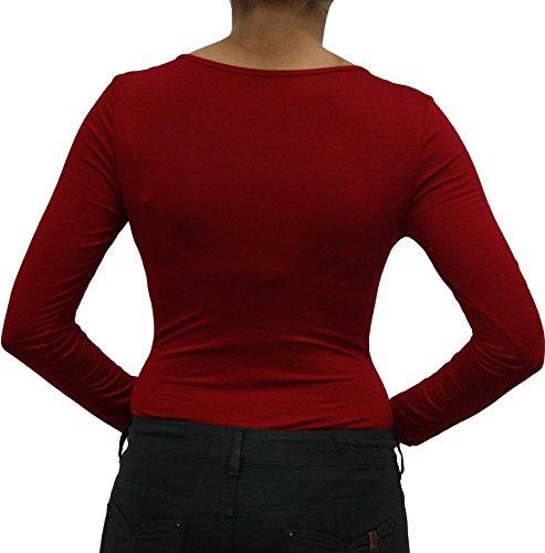 9789 Damen Bluse, Shirt, Blusenbody, Bodybluse, Bodyshirt, Rundhalskragen, Viskose, figurbetont, langarm, grün, beige, braun, grau, blau. Rot