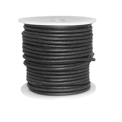 cords craft Bindekordeln Craft Rund Leder Kordel für Runde Armband, Halsketten, Echte Leder Kordel 3,0mm A1Schwarz -