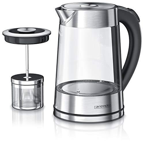 Arendo - Glas Wasserkocher mit Temperatureinstellung und Teesieb Teekocher | Einstellbare Temperaturen: 40°C 70°C 80°C 100°C | 1,7 Liter | Abschaltautomatik | Warmhaltefunktion
