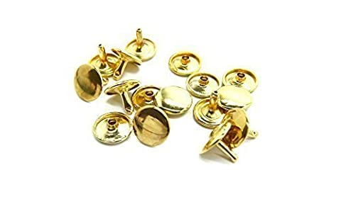 100 x 10mm Gold 2 Piece Double Cap Sided Tubular Rivets Studs by Trimming Shop