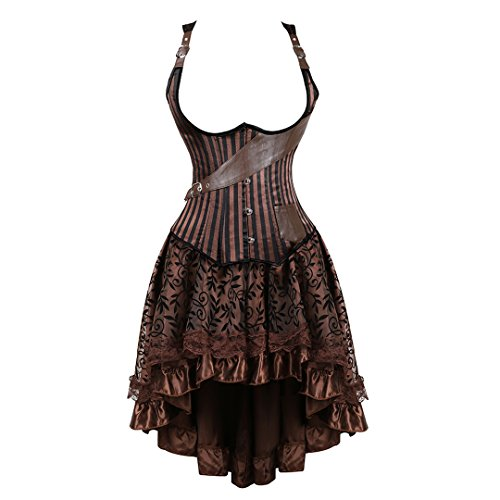 (Women's Halloween Party Masquerade Gothic Brocade Lace Gothic Corset Skirt Set XX-Large Brown)