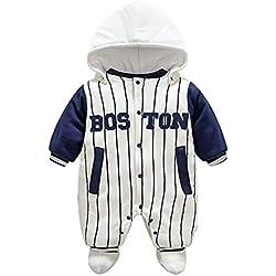 Bambino Pagliaccetto con Cappuccio Scarpe Tute da neve Caldo Jumpsuit Snowsuit Inverno Tutine Cartone Animato Abbigliamento Set Bianco Striped/59