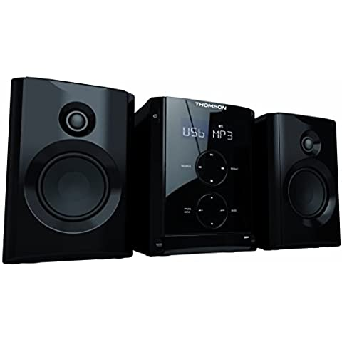 Thomson MIC100BT - Micro-Cadena Hi-Fi (CD, MP3, USB, Bluetooth, teclas táctiles, 2 x 10 W), color negro