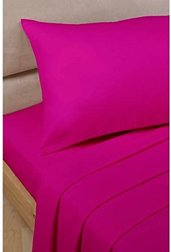 Dreamz Bedding Euro Extra Piccolo Singolo, rosa Caldo 1PC 1PC 1PC Lenzuolo Top in Solido Cotone Egiziano 500 Fili 76328f