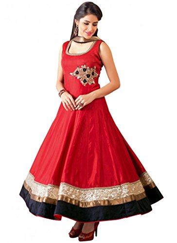Pramukh Enterprise New Red Georgette Embroidered Long Anarkali Suit  available at amazon for Rs.1039