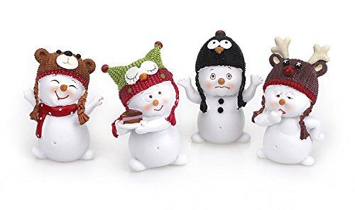 4 x Deko Figur Schneemann mit Wintermütze im Set je 6 cm hoch, aus Polystein weiß mit bunten Mützen, Schneemänner Figuren Kuchen Geschenkdeko Winter Weihnachten