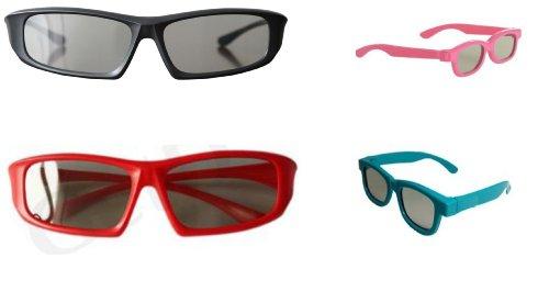 Paquete familiar de 4 pares de pasiva Universal gafas 3D para todos TV y cine 2 adultos rojos y negros y 2 niños en rosa y azul