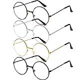 URATOT 4 Pack Retro Round Eyeglasses Metal Frame Clear Lens Glasses Vintage Eyeglasses, Unisex, 4 Colors