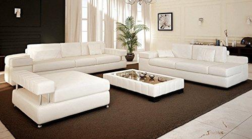 Ledersofa Sofagarnitur Couchgarnitur weiß Ledercouch 3-Sitzer + Daybed + XL Hocker Ecksofa Couch Design Sofa VALENTINO